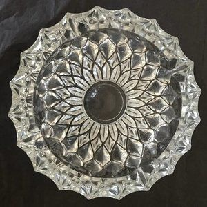 Heavy, round, cut-glass-style ashtray VINTAGE